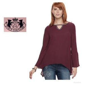 Juicy Couture Bell Sleeve Top Wine V Neck Sz S NWT